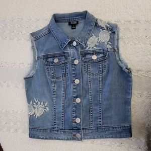 a.n.a Embroidered Denim Vest